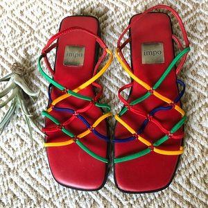 Vtg Rainbow Rubber-band Sandals